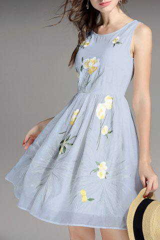 Trendy Flower Embroidered High Waist Dress