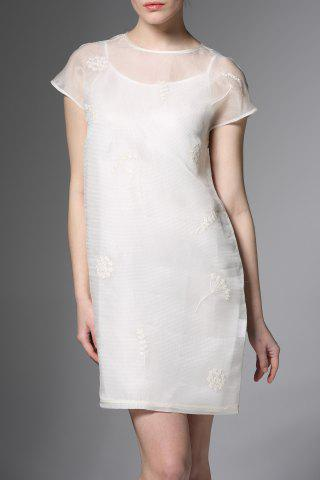 Shops Round Neck Flower Embroidered See Through Dress