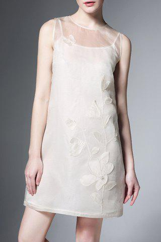 Outfits Flower Pattern Embroidered Sleeveless Dress