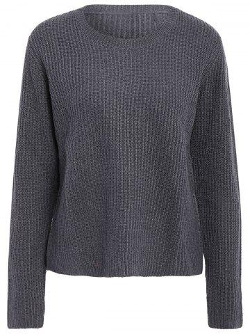 Latest Basic Round Collar Long Sleeve Solid Color All-Match Women's Knitwear GRAY L