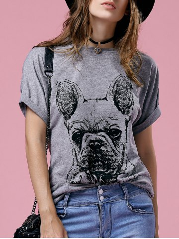 Online Cute Cartoon Print Round Neck Short Sleeve T-Shirt For Women