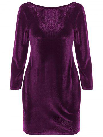 Vintage Velvet Backless Sheath Dress