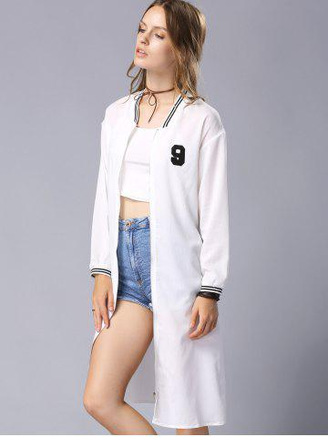 Hot Casual Stand Collar Long Sleeve Letter Embroidery Baseball Coat For Women - S WHITE Mobile