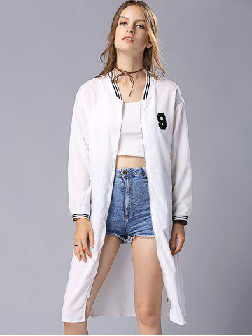 Shop Casual Stand Collar Long Sleeve Letter Embroidery Baseball Coat For Women - S WHITE Mobile