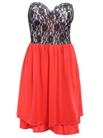 Chic Lace Panel Short Strapless Formal Dress RED M