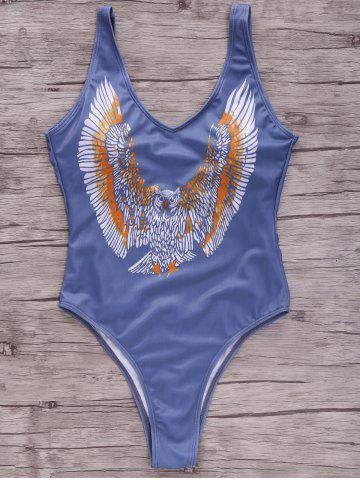 Fashion Stylish Plunging Neck Eagle Print One-Piece Women's Swimwear