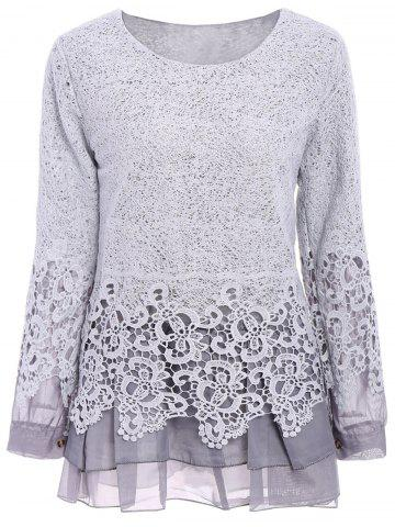 Latest Chic Round Collar Long Sleeve Lace Spliced Women's Blouse GRAY S