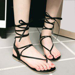 Lace Up Calf Thong Sandals - BLACK