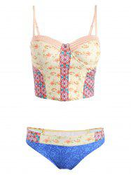 Spaghetti Strap Printed Cropped Tank Top and Briefs Tankini For Women -