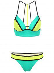 Spaghetti Strap Hit Color Cut Out Women's Bikini Set -