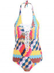 Women's Lace-Up Colorful Print Hollow Out One Piece Swimwear -