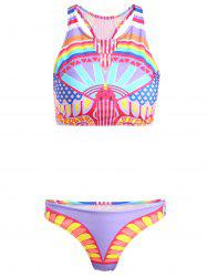 High Neck Printed Two-Piece Women's Swimsuit -