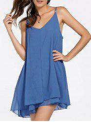 Alluring Spaghetti Strap Bowknot Sleeveless Flounced Mini Dress For Women -
