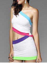 Color Block Short Two Piece Club Dress - WHITE XL