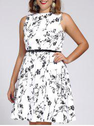 Women's Stylish Round Neck Sleeveless Floral Print Dress - WHITE