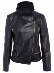 Stylish Turn-Down Collar Long Sleeve PU Leather Jacket For Women - BLACK L