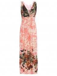 Sleeveless Plunging Neck Lace Crochet Flower Openwork Flowers Print Casual Women's Dress -