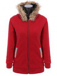 Faux Fur Trim Hooded Zip Up Coat - RED M