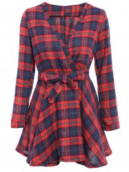 Stylish V-Neck Checked Print Waisted Corset Long Sleeve Women's Dress - CHECKED