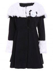 Noble Turn-Down Collar Long Sleeve Faux Fur Spliced Flounced Women's Coat - BLACK XL