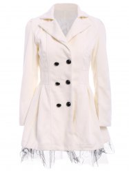 Lace Hem Double Breasted Woolen Blend Trench Coat Dress - WHITE