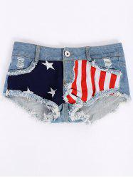 Low-Waisted American Flag Denim Micro Shorts - COLORMIX