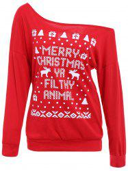 Attractive Skew Neck Elk and Letter Printed Christmas Sweatshirt For Women