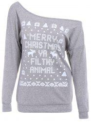 Elk and Letter Printed Skew Neck Christmas Sweatshirt