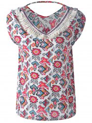 Bohemian Fringe Multi Pattern Cut Out V Neck Tank Top For Women -