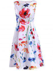 Women's Refreshing Jewel Neck Sleeveless Floral Print Dress