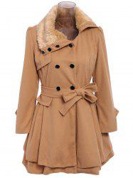 Stylish Turn-Down Neck Long Sleeve Spliced Button Design Lace-Up Women's Coat - CAMEL L