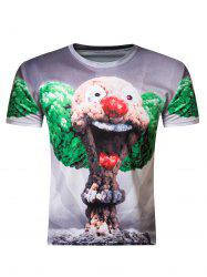3D Round Neck Clown Mushroom Cloud Print Short Sleeve Men's T-Shirt - COLORMIX 2XL