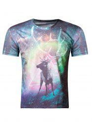 Fashion 3D Round Neck Colored Deer Print Short Sleeve Men's T-Shirt - COLORMIX