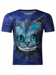 Cute 3D Round Neck Kitten Print Short Sleeve Men's T-Shirt