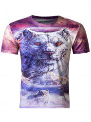 Stylish 3D Round Neck White Tiger Print Short Sleeve Men's T-Shirt
