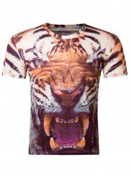 Fashion 3D Round Neck Fierce Tiger Print Short Sleeve Men's T-Shirt