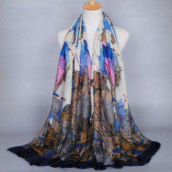 Chic Retro Buildings and Constellation Pattern Shawl Wrap Scarf For Women -