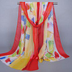 Chic Bright Color Splash-Ink Pattern Sunscreen Shawl Wrap Chiffon Scarf For Women - RED