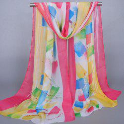 Chic Bright Color Splash-Ink Pattern Sunscreen Shawl Wrap Chiffon Scarf For Women - WATERMELON RED