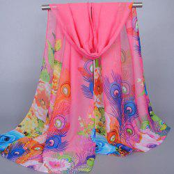 Chic Flowers Peacock Feathers Pattern Sunscreen Shawl Wrap Chiffon Scarf For Women