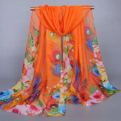 Chic Flowers Peacock Feathers Pattern Sunscreen Shawl Wrap Chiffon Scarf For Women - ORANGE