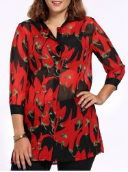 Chic Plus Size Pepper Print Side Slit Women's Shirt