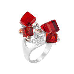 Faux Ruby Rhinestone Star Ring - RED