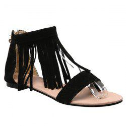 Casual Suede and Fringe Design Sandals For Women