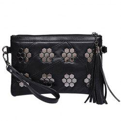 Trendy Metal and Stitching Design Clutch Bag For Women - BLACK