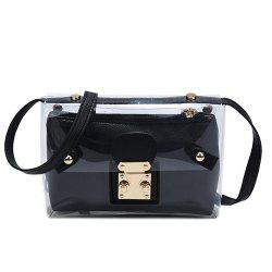 Trendy Transparent and Hasp Design Crossbody Bag For Women