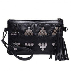 Trendy Metal and Black Design Clutch Bag For Women -