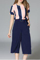 Striped Top and Wide Leg Pants -