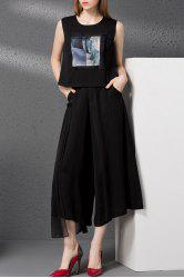 Print Tank Top and Gauze Spliced Wide Leg Pants Twinset -
