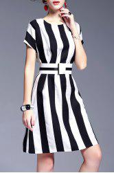 Waisted Corset Striped Dress - WHITE AND BLACK